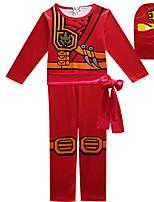 Недорогие -Дети Мальчики Уличный стиль С принтом Длинный рукав Набор одежды Красный
