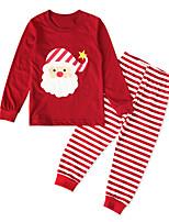 Недорогие -Дети Дети (1-4 лет) Девочки Активный Классический Рождество фестиваль Дед Мороз Мультипликация Рождество С принтом Длинный рукав Хлопок Набор одежды Красный