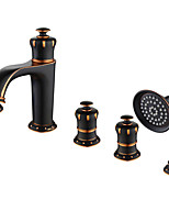 Недорогие -Смеситель для ванны - Обычные Хром / Начищенная бронза Разбросанная Керамический клапан Bath Shower Mixer Taps