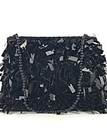 Недорогие -Жен. Пайетки / Блеск Полиэстер Вечерняя сумочка Вышивка Черный / Цвет радуги