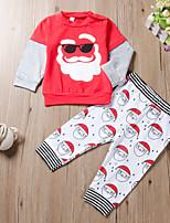 Недорогие -малыш Мальчики Активный / Классический Дед Мороз С принтом Пэчворк / С принтом Длинный рукав Обычный Обычная Набор одежды Красный