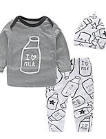 Недорогие -малыш Мальчики Активный / Классический С принтом С принтом Длинный рукав Обычный Обычная Набор одежды Серый
