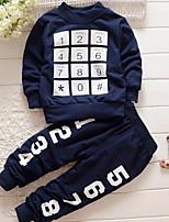 Недорогие -Дети (1-4 лет) Мальчики Классический С принтом С принтом Длинный рукав Набор одежды Светло-серый
