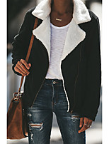 Недорогие -Жен. Повседневные Классический Зима Обычная Пальто, Однотонный Отложной Длинный рукав Полиэстер Черный / Хаки