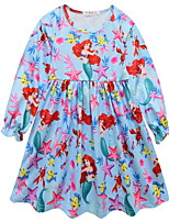 Недорогие -Дети Девочки Симпатичные Стиль Мультипликация Платье Синий