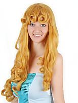 Недорогие -Косплей Aurora Косплэй парики Жен. 24 дюймовый Синтетика Золотистый Золотой Аниме