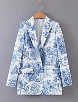 Недорогие -Жен. Повседневные Обычная Пальто, Растения Лацкан с тупым углом Длинный рукав Полиэстер Светло-синий