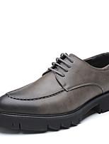Недорогие -Муж. Кожаные ботинки Полиуретан Осень Туфли на шнуровке Черный / Коричневый / Серый / Для вечеринки / ужина