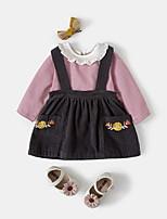 Недорогие -Дети (1-4 лет) Девочки Активный Полоски Длинный рукав Набор одежды Желтый
