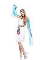 Недорогие -Египетские костюмы Косплэй Kостюмы Инвентарь Взрослые Жен. Косплей Хэллоуин Хэллоуин Фестиваль / праздник Полиэстер Белый Жен. Карнавальные костюмы / Платье / Пояс / Головные уборы