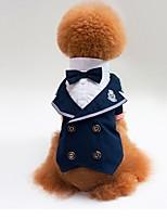Недорогие -Собаки Костюм Одежда для собак Полоски Темно-синий Полиэстер Костюм Назначение Лето Женский Свадьба