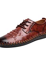 Недорогие -Муж. Кожаные ботинки Замша / Кожа Весна лето Деловые / На каждый день Туфли на шнуровке Дышащий Черный / Темно-русый / Темно-коричневый