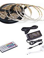Недорогие -5 метров Гибкие светодиодные ленты / RGB ленты / Пульты управления 300 светодиоды SMD3528 1 пульт дистанционного управления 44Keys / 1 адаптер x 12V 2A RGB / Водонепроницаемый / Можно резать