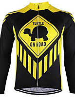 Недорогие -21Grams Муж. Длинный рукав Велокофты - Черный / желтый Велоспорт Джерси Верхняя часть Сохраняет тепло Устойчивость к УФ Дышащий Виды спорта Зима 100% полиэстер Горные велосипеды Шоссейные велосипеды