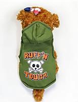 Недорогие -Собаки Плащи Одежда для собак Черепа Зеленый Полиэстер Костюм Назначение Осень Хэллоуин