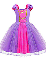 cheap -Rapunzel Dress Masquerade Flower Girl Dress Girls' Movie Cosplay A-Line Slip Cosplay Halloween Light Purple Dress Halloween Carnival Masquerade Tulle Cotton