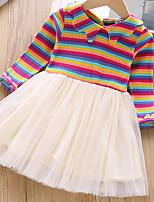 Недорогие -Дети (1-4 лет) Девочки Полоски Платье Светло-синий