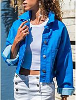 Недорогие -Жен. Повседневные Короткая Куртка, Однотонный Отложной Длинный рукав Полиэстер Синий / Красный / Зеленый