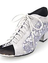 Недорогие -Жен. Танцевальная обувь Синтетика Обувь для латины Лак / Блеск На каблуках Толстая каблук Персонализируемая Черный / Серый