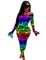 Недорогие -Жен. Активный Цвет радуги Комбинезоны, Леопард С принтом S M L
