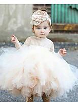 Недорогие -Дети (1-4 лет) Девочки Однотонный Платье Бежевый