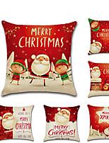 Недорогие -6 штук Лён Наволочка, Праздник Мультипликация Традиционный Рождество Бросить подушку