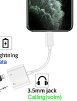 Недорогие -Iphone 11 Pro Lightning Adpter Аудио Зарядка Провод Управляющий вызов 4-в-1 Молния 3,5 мм Разъем адаптера IOS 13