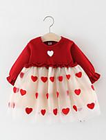 Недорогие -Дети Девочки С сердцем Кружева Платье Розовый