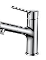 Недорогие -Ванная раковина кран - Вытяжная лейка Хром Свободно стоящий Одной ручкой одно отверстиеBath Taps