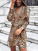 Недорогие -Жен. Классический Оболочка Платье - Леопард Выше колена