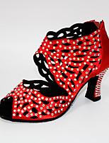 Недорогие -Жен. Танцевальная обувь Сатин Обувь для латины Кристаллы / Crystal / Rhinestone На каблуках Кубинский каблук Персонализируемая Темно-красный