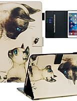 Недорогие -Кейс для Назначение Apple iPad Air / iPad (2018) / iPad Air 2 Кошелек / Бумажник для карт / С узором Чехол Кот Кожа PU / ТПУ