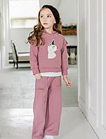 Недорогие -Дети Девочки Активный Мультипликация Длинный рукав Набор одежды Розовый