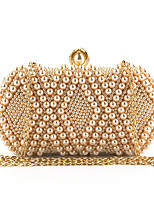 Недорогие -Жен. Жемчужная отделка Полиэстер Вечерняя сумочка Геометрический рисунок Белый / Розовый / Миндальный