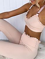 Недорогие -Жен. Костюм для йоги Сплошной цвет Йога Фитнес Тренировка в тренажерном зале Леггинсы Верх Без рукавов Спортивная одежда Дышащий Влагоотводящие Быстровысыхающий Подтяжка