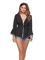 Недорогие -Жен. Шнуровка Блуза Классический Однотонный Черный