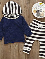 Недорогие -Дети (1-4 лет) Мальчики Классический Синий и белый Полоски С принтом Длинный рукав Набор одежды Синий