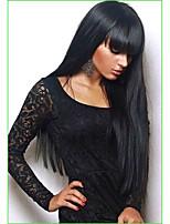 Недорогие -Человеческие волосы без парики Натуральные волосы Прямой / Естественный прямой Стрижка каскад / Ассиметричная стрижка / Боковая часть / Аккуратная челка Стиль / Без шапочки-основы / Природные волосы
