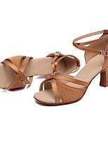 cheap -Women's Dance Shoes Latin Shoes Heel Cuban Heel Customizable Brown / Performance / Satin / Leather / Practice