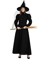 Недорогие -ведьма Косплэй Kостюмы Инвентарь Взрослые Жен. Косплей Хэллоуин Хэллоуин Фестиваль / праздник Полиэстер Черный Жен. Карнавальные костюмы / Платье / Шапки