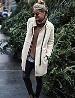 Недорогие -Жен. Повседневные Обычная Искусственное меховое пальто, Однотонный Воротник-стойка Длинный рукав Искусственный мех Бежевый