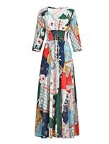Недорогие -Жен. Богемный С летящей юбкой Платье - Цветочный принт, С принтом Макси
