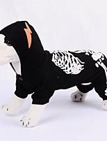 Недорогие -Собаки Инвентарь Одежда для собак Черепа Черный Полиэстер Костюм Назначение Зима Праздник Хэллоуин