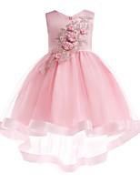 Недорогие -Дети Девочки Активный Милая Однотонный Цветочный принт Без рукавов Ассиметричное Платье Розовый