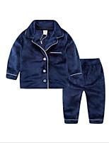 Недорогие -Дети Дети (1-4 лет) Мальчики Классический Дом Однотонный Длинный рукав Набор одежды Черный