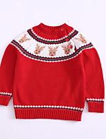 Недорогие -Дети (1-4 лет) Девочки Классический Геометрический принт С принтом Длинный рукав Свитер / кардиган Красный