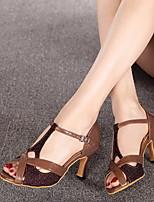 Недорогие -Жен. Танцевальная обувь Искусственная кожа Обувь для латины На каблуках Толстая каблук Кофейный