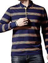 Недорогие -Муж. С принтом Polo Деловые / Уличный стиль Полоски / Контрастных цветов Черный / Синий Желтый