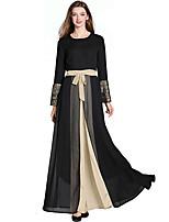Недорогие -Жен. Классический С летящей юбкой Платье - Контрастных цветов Макси