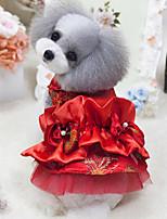 Недорогие -Собаки Коты Животные Платья Одежда для собак Лолита Красный Полиэстер Костюм Назначение Лето Этнический